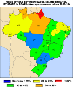 Ethanol fuel in brazil wikipedia red and orange show states with average prices below the break even range ethanol price should be between 25 and 30 cheaper gumiabroncs Image collections
