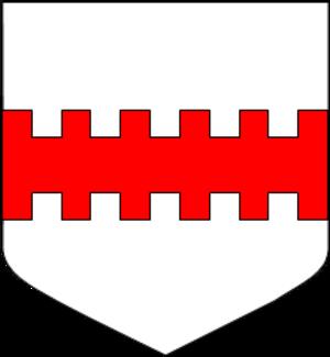 Line (heraldry) - Argent, a fess bretessé gules