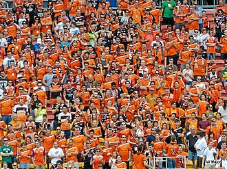 Brisbane Roar FC - Brisbane Roar supporters at an A-League match against Western Sydney in 2013