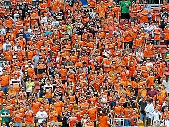 Brisbane Roar FC - Brisbane Roar supporters at an A-League match against Western Sydney in 2013