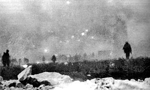 City of London Rifles - British infantry advancing through as gas cloud at Loos 25 September 1915