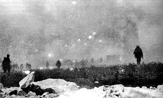 Battle of Loos - British infantry advancing through gas at Loos, 25 September 1915.