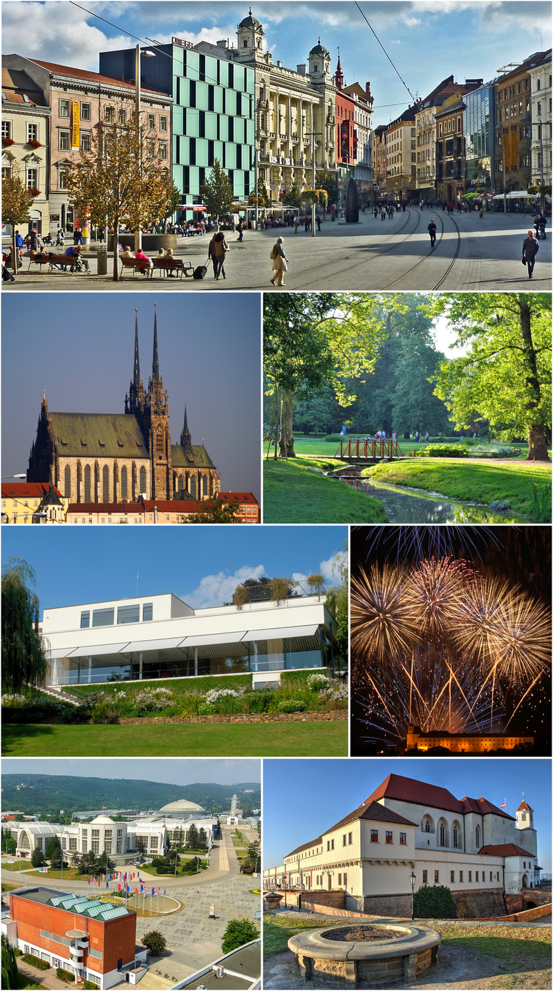 From top: The Liberty Square, Cathedral of St. Peter and Paul, Lužánky Park, Villa Tugendhat, Ignis Brunensis, Brno Exhibition Centre, Špilberk Castle
