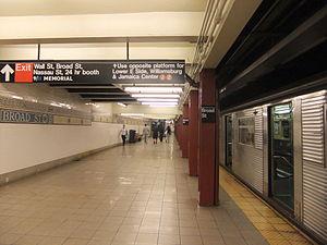 Broad Street (BMT Nassau Street Line) - Southbound/terminating platform