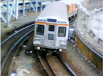 Broad Street Line - Broad Street Subway train enters Fern Rock Transportation Center station.
