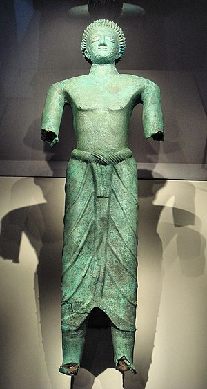 "Sabaeans - ""Bronze man"" found in Al-Baydā' (ancient Nashqum, Kingdom of Saba'). 6th–5th century BCE. Louvre Museum"