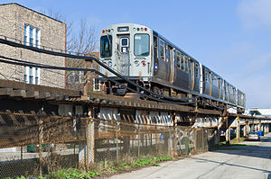 Brown Line (CTA) - Between Rockwell and Western stations a ramp carries Brown Line trains from ground-level to elevated tracks