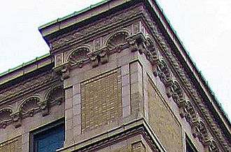 Schenley Quadrangle - Detail of the scalloped cornice on Bruce Hall, one of the Schenley Quadrangle residences at the University of Pittsburgh