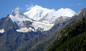Snow line - Weisshorn (4,506 m), Alps: 3,000 m