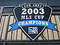 Buck Shaw Stadium 2003 MLS Cup shield.JPG