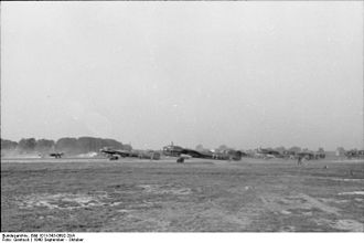 Kampfgeschwader 3 - A staffel of Do 17s from KG 3 running their engines up prior to a sortie, September/October 1940.