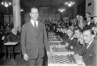 José Raúl Capablanca - Giving a simultaneous display on thirty boards in Berlin, June 1929