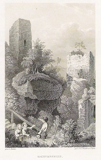 Lichtenstein Castle (Lower Franconia) - Die Nordburg um 1840. Stahlstich von W.C. Wrankmore nach einer Zeichnung Ludwig Richters