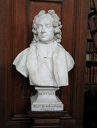 A bust of Bentley now stands in the library of Trinity College, Cambridge Bust of Richard Bently by Louis-Francois Roubiliac.jpg
