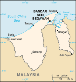 Location of Bandar Seri Begawan within Brunei
