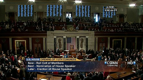 C-SPAN broadcasts the beginning of the 112th Congress on January 5, 2011 C-SPAN 112th Congress Roll Call.jpg
