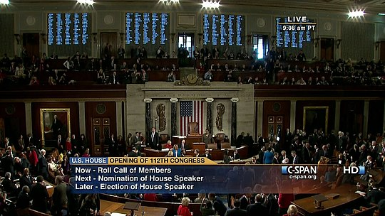 Opening of the 112th Congress in the House of Representatives chamber, January 5, 2011 C-SPAN 112th Congress Roll Call.jpg