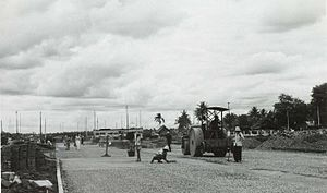 "Jalan Jenderal Sudirman - Construction of the Sudirman road in 1950, then known simply as ""road connection between Jakarta and Kebayoran""."