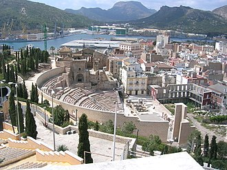 Cartagena, Spain - The Roman Theatre of Carthago Nova and Cathedral ruins of Cartagena.