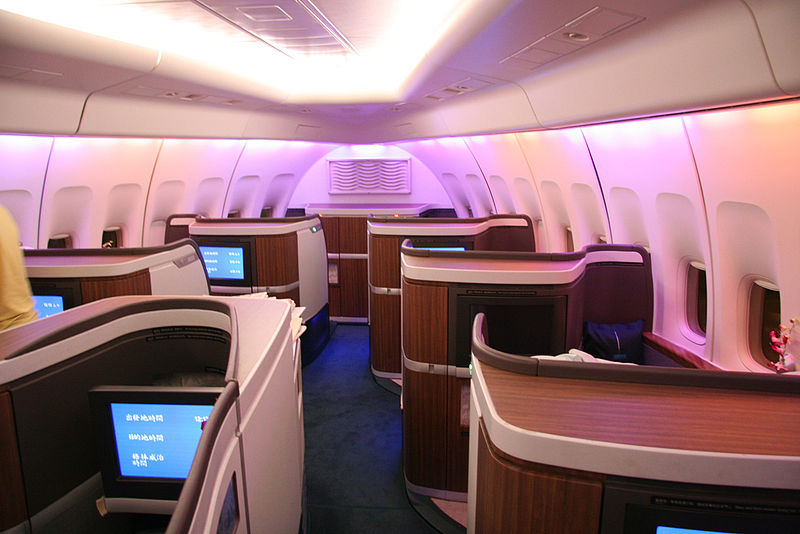Aircraft nose cabin with private first class suites.