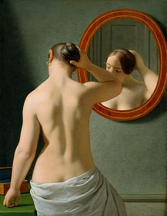 Danish Golden Age - Christoffer Wilhelm Eckersberg, Woman in Front of a Mirror, 1841. French Neo-Classicism transmuted into Biedermeier style.