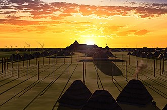 Cahokia Woodhenge - Artist's conception of Woodhenge III at sunrise circa 1000 CE