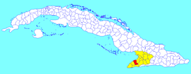 Campechuela municipality (red) within Granma Province (yellow) and Cuba