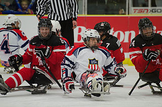 Sledge hockey form of ice hockey mainly practiced by people with disabilities