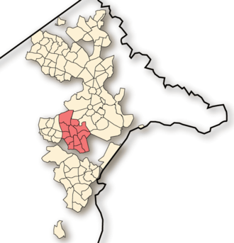 Woden Valley - Location of Woden Valley, shaded.