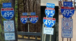 Inner–outer directions - The Capital Beltway around Washington, D.C., is signed by all four compass directions at various points, but is consistently signed with inner–outer labeling.