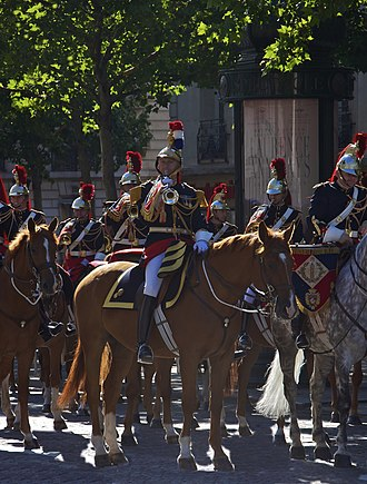 Mounted band - Captain Jacques Leblay, director of music of the mounted cavalry regiment of the Republican Guard.