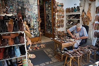 Shoemaking - A cordwainer making shoes, in Capri, Italy.