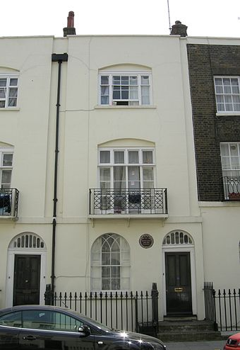 Carlyle's home at 4 (now 33) Ampton Street, London, marked with a plaque by the London County Council Carlyle's House Ampton Street.JPG