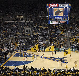 West Virginia Mountaineers - Carpet roll at a basketball game