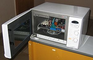 Computer built into a Microwave oven