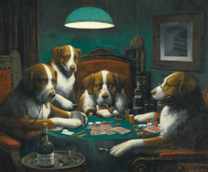 Cassius Marcellus Coolidge - Poker Game, oil on canvas, 1894