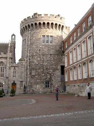 Dublin Castle - The Record Tower, the sole surviving tower of the medieval castle dating from c.1228. To its left is the Chapel Royal.