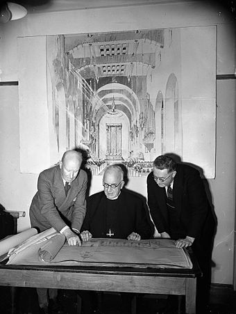 Cecil Wood, H St Barbe Holland and Will Appleton discussing plans for the new Wellington Cathedral in 1945 (from left) Cecil Wood, Rt Rev H St Barbe Holland and Will Appleton.jpg