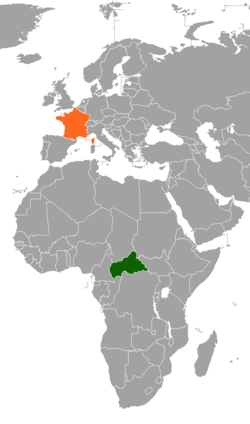 Map indicating locations of Central African Republic and France