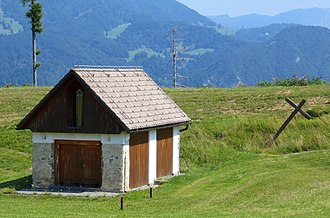 Cerkno - Chapel (a converted hay shed) at the Lajše Mass Grave