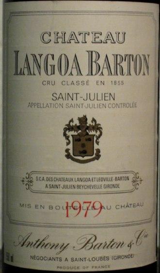 Château Langoa-Barton - Detail of a label of Château Langoa Barton