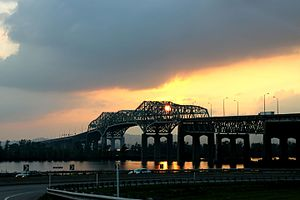 Champlain Bridge, Montreal - View from the east side of the Saint Lawrence River, July 2011