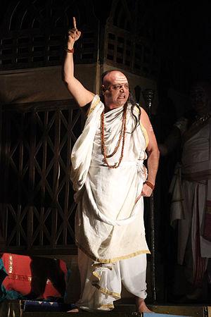 Manoj Joshi (actor) - Manoj Joshi as Chankya - Play in Adi Vidrohi Natya Samaroh at Ravindra Bhavan Bhopal December 2015
