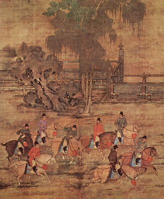 Four arts - Eight horsemen in Spring, by Zhao Yan, 10th century, Five Dynasties and Ten Kingdoms period.