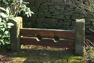 Punishment - The old village stocks in Chapeltown, Lancashire, England