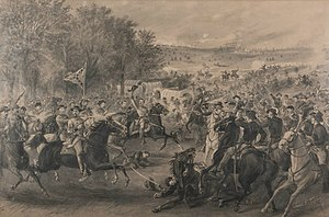 Charge of the Confederate cavalry at Trevilian Station, Virginia, by James E. Taylor, 1891.jpg