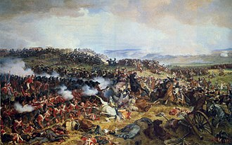 Infantry square - The charge of the French Cuirassiers at the Battle of Waterloo against a British square.