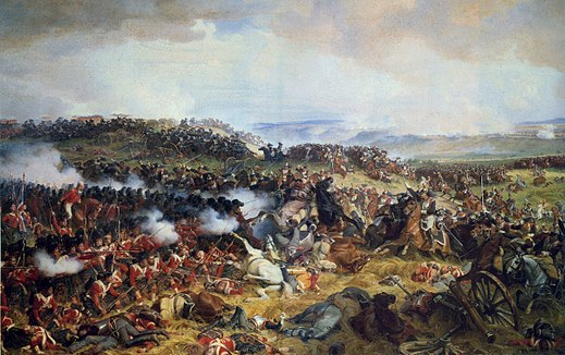 A British square puts up dogged resistance against attacking French cavalry. Charge of the French Cuirassiers at Waterloo.jpg