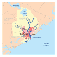 map showing the major rivers of charleston and the charleston harbor watershed