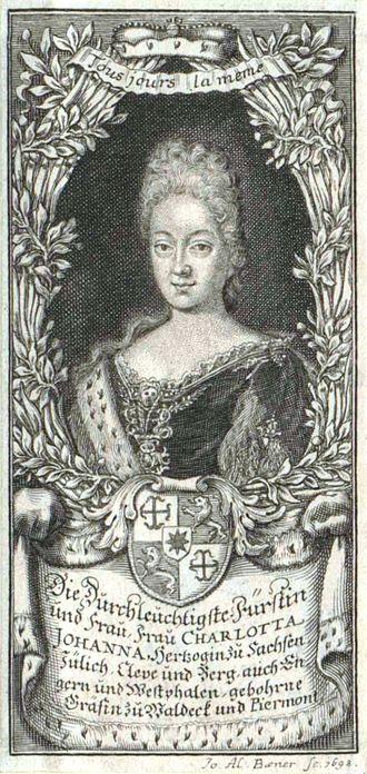 Countess Charlotte Johanna of Waldeck-Wildungen - Image: Charlotte Johanna Waldeck Piermont